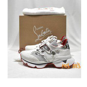 Christian Louboutin white silver Glitter Sneaker